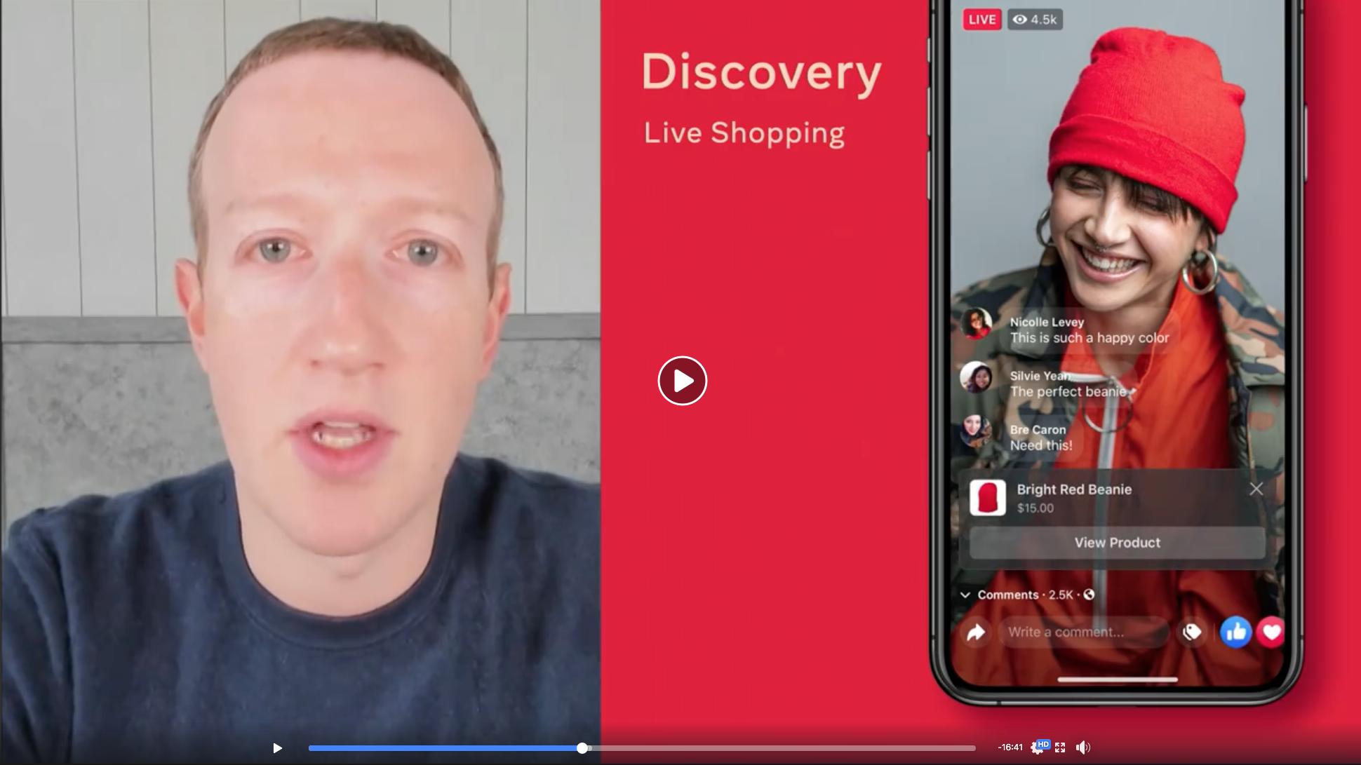 Facebook Shops - live shopping